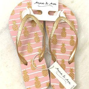2/$20 Anna & Ava Gold & Pink Bling Flip Flops NWT.